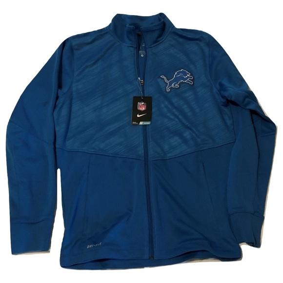 new style bebba db8f0 Detroit Lions Nike Full Zip Warp Jacket NWT